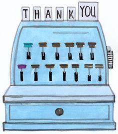 Dear Hancock illustration of a cash register