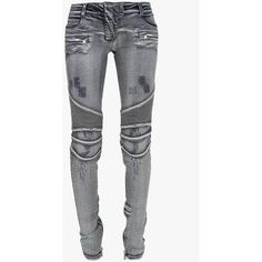 Balmain Distressed low-rise stretch cotton-denim biker jeans (€1.600) ❤ liked on Polyvore featuring jeans, pants, white skinny jeans, super skinny jeans, white destroyed skinny jeans, white jeans and white ripped jeans