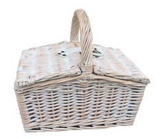 Small White Double Lidded Hamper Wicker Basket