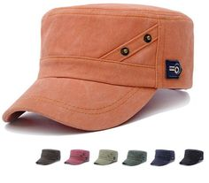 Flat Top Army Hat Casual Cotton Outdoor Sports Cap Adjustable Size Fashion Gift #Unbranded #SimpleDesign