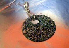 Klimt Style Blue Green White Silver Polymer Clay by NaturalJaurney, $5.00