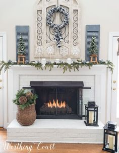 My After Christmas Snowy Winter Fireplace #mantel #winter #cozy