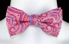 New Pink Purple Paisley Mens Bow Tie Adjust Prom Tuxedo Wedding Fashion Bowtie #TiesJustForYou #BowTie