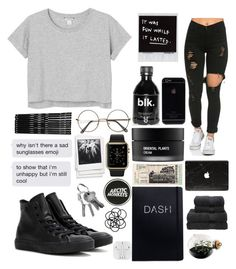 """""""black ✔️"""" by kaleyyy00 ❤ liked on Polyvore featuring Esque Studio, Monki, Polaroid, Koh Gen Do, Christy and Converse"""
