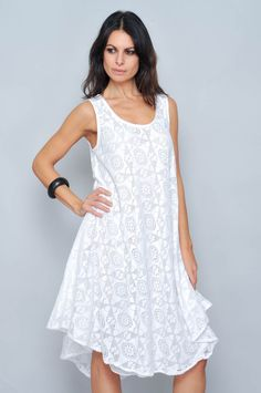VESTIDO TIRANTE ALGODON AF-16259 - H.H.G - Venta al por Mayor Simple Outfits, Simple Dresses, Casual Dresses, Fashion Dresses, White Linen Dresses, Online Clothing Boutiques, Online Dress Shopping, Summer Dresses For Women, White Fashion