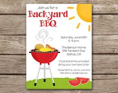 PRINTABLE - Barbeque Invitation - Barbecue - BBQ - Cookout - Memorial Day - Backyard - Graduation - Picnic - Grill - Hamburger - Summer