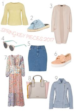 Heartfelt Hunt - Spring Key Pieces 2017 - Blouse in pastel yellow, denim bow shoes, cozy cardigan, sunglasses in pastel colors, denim skirt, bow sneakers, floral maxi dress, bag in pastel colors and leather jacket in pastel blue - Spring Fashion