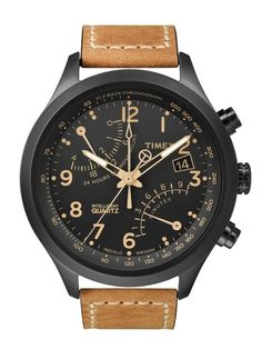 Timex Watch, Men's Intelligent Quartz Fly-Back Chrono Tan Leather Strap - Watches - Jewelry Watches - Macy's Cool Watches, Watches For Men, Herren Chronograph, Brown Leather Strap Watch, Tan Leather, Smooth Leather, Timex Watches, Men's Watches, Sport Watches