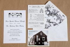 Custom Whimsical Letterpress Wedding Invitations from Swiss Cottage Design