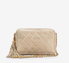 Chanel Beige Suede Tassel Vintage Camera Bag