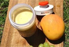 INGREDIENTS 1/2 cup green grapes 1/2 cup frozen mango pieces 1 scoop ice cream 1 cup apple juice DIRECTIONS Place the grapes, mango, ice cream and juice into the smaller personal blending jug; securely seal the blade assembly inside the blending jug. Lock the blending jug onto the motor base by aligning the arrows and press the 'PULSE' button for 1...