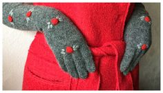 Long Gloves Rose Warm Gloves and Mittens Hand Made by WOOLOKS