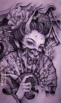 Japanese Geisha Tattoo, Japanese Tattoo Women, Japanese Tattoo Designs, Japanese Sleeve Tattoos, Geisha Tattoo Design, Japan Tattoo Design, Heart Tattoo Designs, Tattoo Sleeve Designs, Bright Colorful Tattoos