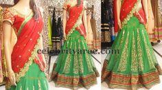 Green Shimmer Half Sari by Sony | Saree Blouse Patterns