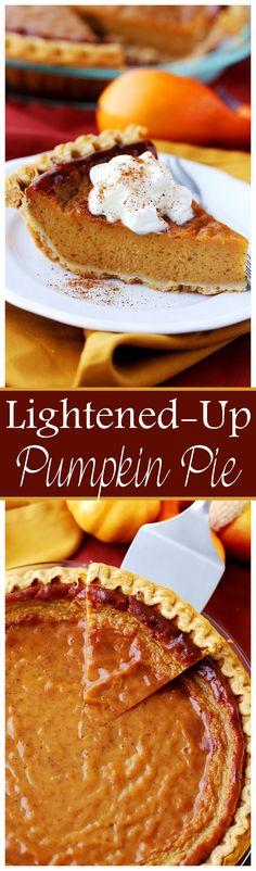 Lightened-Up Pumpkin Pie - Amazingly rich, creamy, and very easy to make, lightened-up Pumpkin Pie.