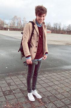 Vintage Bag, H&M Jacket, H&M Sweater, Favourite Hat, Cheap Monday Jeans