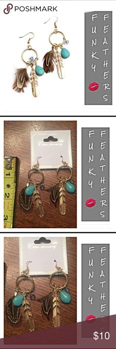 """Boho Feather Turquoise Drop Earrings Gold black Must have funky boho feather gold tone earrings.  Approx 3"""" drop style with gold feather, brown feather, turquoise gem & blue crystal-like gem. ADORABLE  black Jewelry Earrings"""