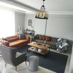 Yanık turuncu ve gri uyumunun sıcak enerjisi. Decoration Hall, Decoration Bedroom, Decoration Design, Living Room Decor, Living Spaces, Decoration Inspiration, Dream Bedroom, Home Decor Styles, Home Accessories