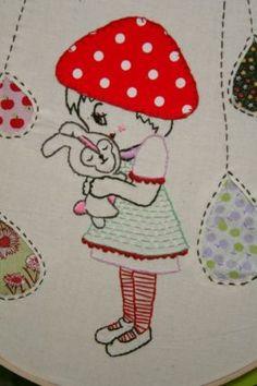 Una Red Robin: Arte   Diseño   Dibujos   Softies   Patrones   Handmade »puntada gratis: Chica honguito