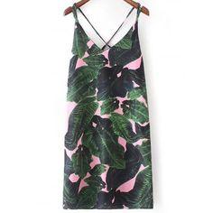Стильный V-образным вырезом Тропический печати платье для женщин  #Стильный #V-#образным #вырезом #Тропический #печати #платье #для #женщин