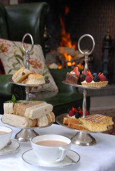 Afternoon tea in front of a roaring log fire in the Library at Goldsborough Hall