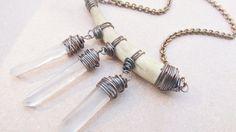 Antler Bib Necklace Wire Wrap Jewelry Antler Necklace Rustic Wire Wrap Necklace DanielleRoseBean Deer Antler Jewelry Statement Necklace