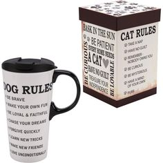 """Life is sweeter when you follow your furry friend's rules! Remind yourself to """"learn new tricks,"""" """"chase your dreams,"""" """"be curious,"""" and even to """"take a nap"""" with the help of this charming ceramic travel mug."""