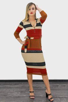 2f47c6e02c Bessie Long Sleeve Zip Print Belted Midi Dress