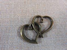 4pcs, Connecteurs coeur, coeurs bronze, pendentifs double coeur, coeur en métal, coeur entrelacé, 32x25mm, lot de coeurs, création bijoux de la boutique ArtKen6L sur Etsy