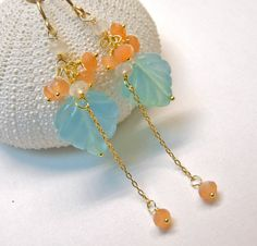 Aqua blue chalcedony and moonstone cluster by PingyPieJewelry, $65.00