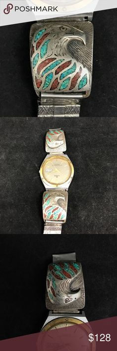 🦅SIGNED Eagle watch tips 🦅 ::Signed:: Sterling silver, turquoise and coral inlay watch tips-Eagle detail! Very beautiful and in great condition- just need some love and a new watch face! Or can be used repurposed 😉 Native American Jewelry