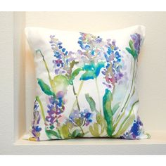 Lavender Watercolor Floral Pillow Cover, Designer Watercolor Fabric,... ($38) ❤ liked on Polyvore featuring home, home decor, fabric home decor and floral home decor