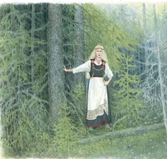 """""""Kalevala interpretive art"""" Missy Birgit says this includes a form of the Pernio dress, a museum costume interpretation that cannot be supported by any archaeological finds. The bronze-spiral decorated apron can be found in the archaeological record but the rest is conjecture."""