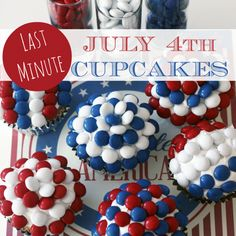 July M & M cupcakes: Need something fast and easy? Make some fantastic cupcakes, frost them - then decorate with red, white and blue candies. 4th Of July Desserts, Fourth Of July Food, 4th Of July Party, July 4th, Holiday Treats, Holiday Parties, Holiday Desserts, Holiday Baking, M M Cupcakes