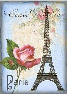 Postal Paris Torre Eiffel y rosa. Decoupage Vintage, Decoupage Paper, Tour Eiffel, Paris Eiffel Tower, Images Vintage, Vintage Pictures, Vintage Labels, Vintage Postcards, Paris Wallpaper