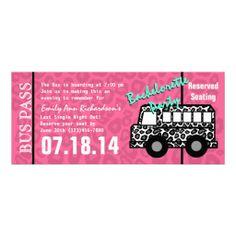Bachelorette party bus pass invitation pinterest party bus bachelorette party leopard bus pass invitation stopboris Images