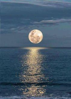Moon over Rainy Lake Minnesota. Leon Espe