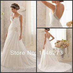 New Fashionable V Neck Spaghetti Strap With Beads Sheath Elegant Backless Ivory Pleat Button Closed Organza wedding dresses 2014