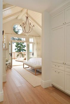 Sunshine Coast Home Design : coastal bedroom with vaulted ceiling, chandelier and french doors Home Bedroom, Master Bedroom, Bedroom Decor, Design Bedroom, Master Suite, Nautical Bedroom, Bedroom Ideas, Wall Decor, Cottage Homes