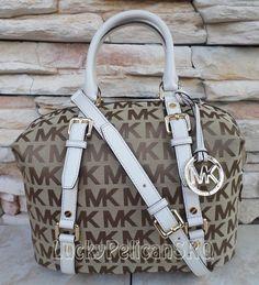 Michael Kors MK Signature Medium Bedford  Vanilla Beige Satchel Bowling Bag NWT amazing with this fashion bag!  2015  Michael kors B edford Handbags  Outlet Online shop   #Michael #kors #Bedford #Handbags  #Outlet #Online #shop