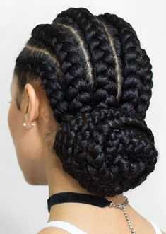 Braided Low Bun ❤️ Looking for cornrows braids for black women? These straight back cornrows, big braided updo, side braided hairstyle and lots of cool hairdos will make you look like goddesses. Cornrows Braids For Black Women, Black Girl Braids, African Braids Hairstyles, Braids For Black Hair, Girls Braids, Girl Hairstyles, Braid Hairstyles, Hairstyles 2016, Cute Cornrows