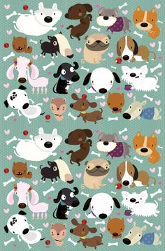 Dog Pattern Men's Classic T-Shirt by Mjdaluz Mini Doodle, Doodle Art, Kids Prints, Fine Art Prints, Wallpaper Kawaii, Cãezinhos Bulldog, Vintage Flowers Wallpaper, Dog Illustration, Illustrations