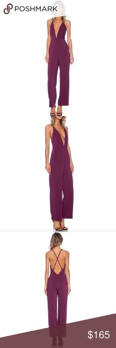 ✨NWOT✨ Stylestalker Kal-El Deep V Neck Jumpsuit Stylestalker Kal-El Jumpsuit in purple/maroon color Brand new without tags never worn absolutely stunning -- bought on revolve Sold out everywhere  Perfect for Valentine's Day! Stylestalker Pants Jumpsuits & Rompers