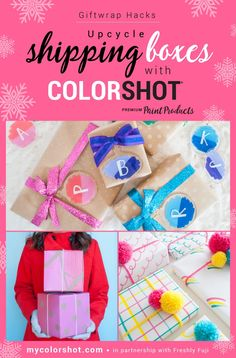 Upcycle Your Shipping Boxes with these Giftwrap Hacks Spray Paint Colors, Gloss Paint, Chalk Markers, Painted Ornaments, Custom Tags, Paint Drying, Painted Boxes, Cardboard Crafts, Shipping Boxes