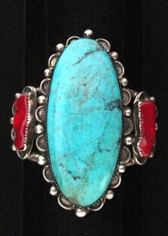 Silver and Turquoise Bracelet Vintage Old Pawn STERLING Coral LARGE *TB466