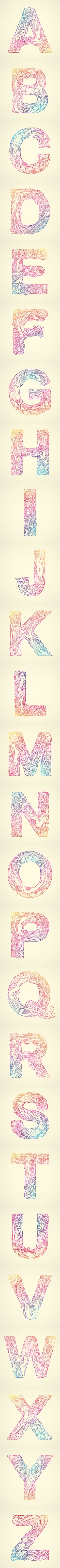 """whispered garden alphabets una tipografia inspirada en la belleza de la mujer y la naturaleza'' THUY MAT TIT"