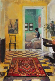 """ Tea , Yellow House - Keiko Ogawa Japanese,b.1974- Oil on canvas, 130 x 89 cm. "" Interior """