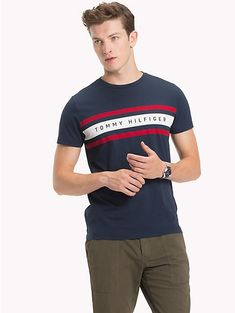 Elevate your look with the latest Tommy Hilfiger men's t-shirts. Tee Shirt Designs, Tee Design, Navy Blazer Men, Printed Shirts, Tee Shirts, Tommy Hilfiger T Shirt, Camisa Polo, Men's Fashion, Men Dress