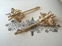Bee Bobby Pin 24k Gold Halloween Insect Bug Clip Bumble Bee Statement Hair Clips…