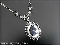 Unicorn Cameo Necklace Black Horse Gothic Jewelry by SKAIOR Designs  http://www.skaior.com